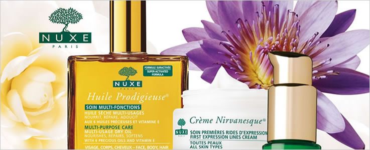 Nuxe Skin Care and Hair and Body Oils.